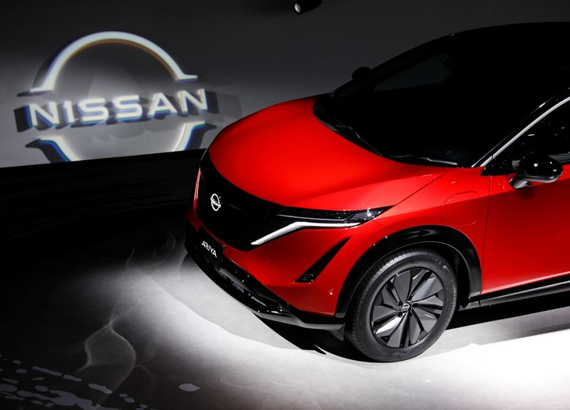 Nissan Motor Corp. displays its new Ariya all-battery SUV during a press preview in Yokohama