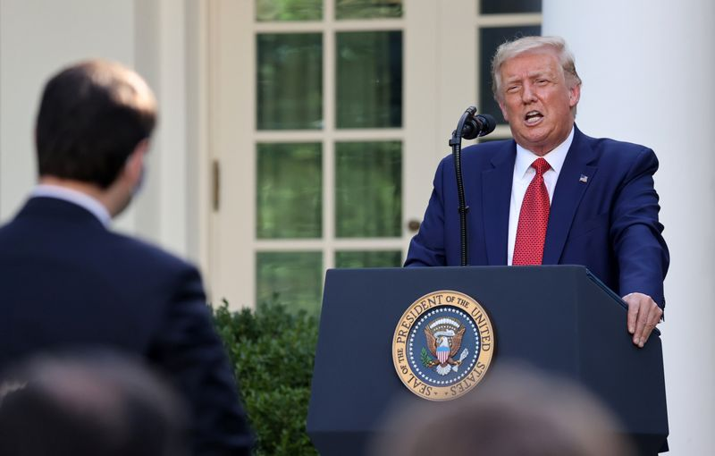 FILE PHOTO: U.S. President Donald Trump attends a news conference in the Rose Garden at the White House in Washington