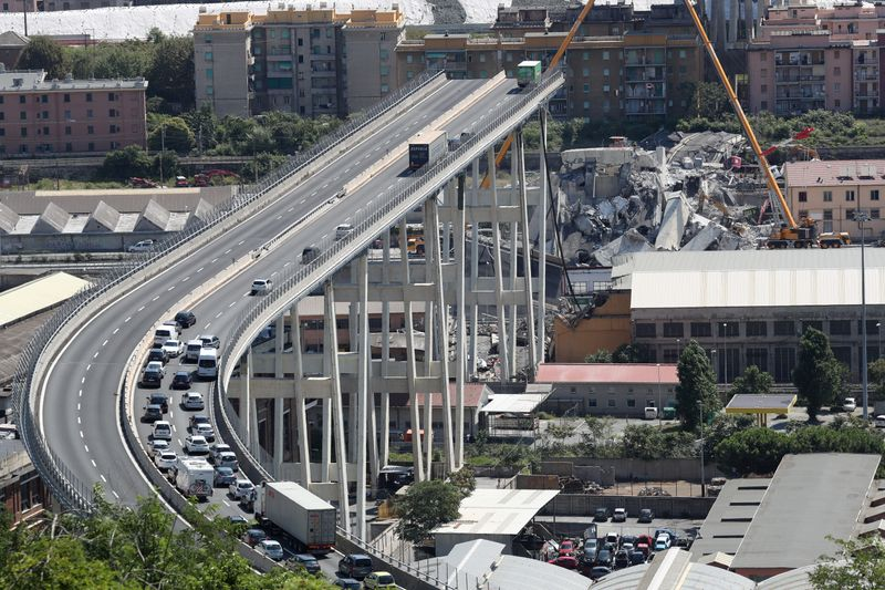 FILE PHOTO: The collapsed Morandi Bridge is seen in the Italian port city of Genoa
