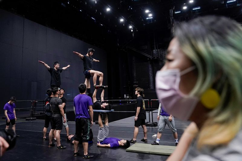 Performers train for the Cirque du Soleil