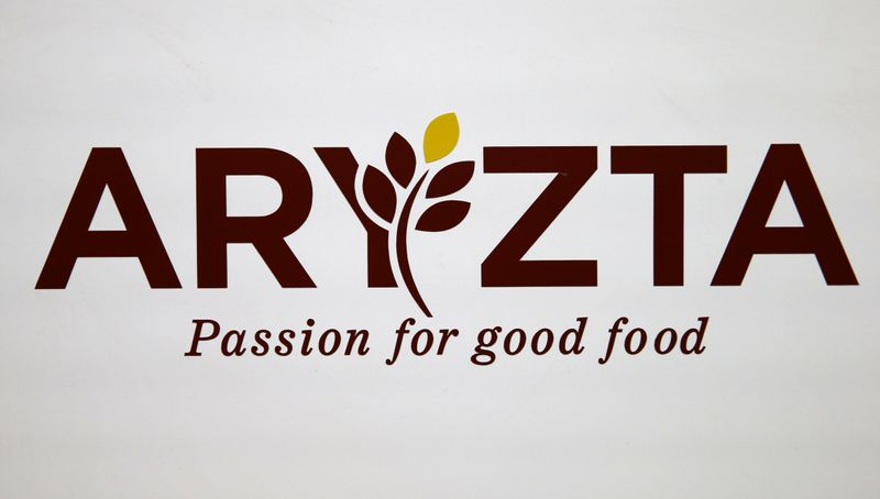 The logo of Aryzta is seen during the company's annual shareholder meeting in Duebendorf