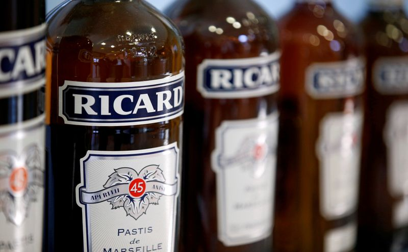 FILE PHOTO: Bottles of Ricard's aniseed-flavoured beverage are pictured at the Ricard manufacturing unit in Lormont, near Bordeaux