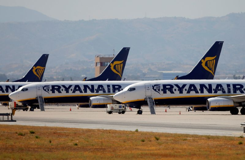 Ryanair airplanes are seen on the first day of a cabin crew strike held in several European countries, at the airport in Malaga