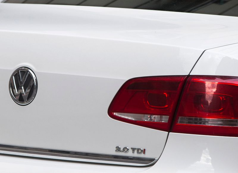 The diesel engine badge is displayed on a VW car in London