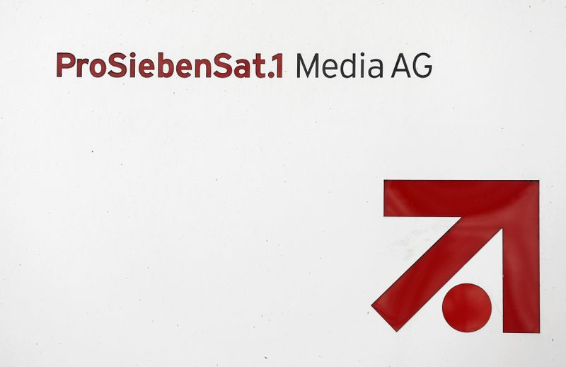 The logo of Germany's commercial broadcaster ProSiebenSat.1 Media AG is pictured in Unterfoehring