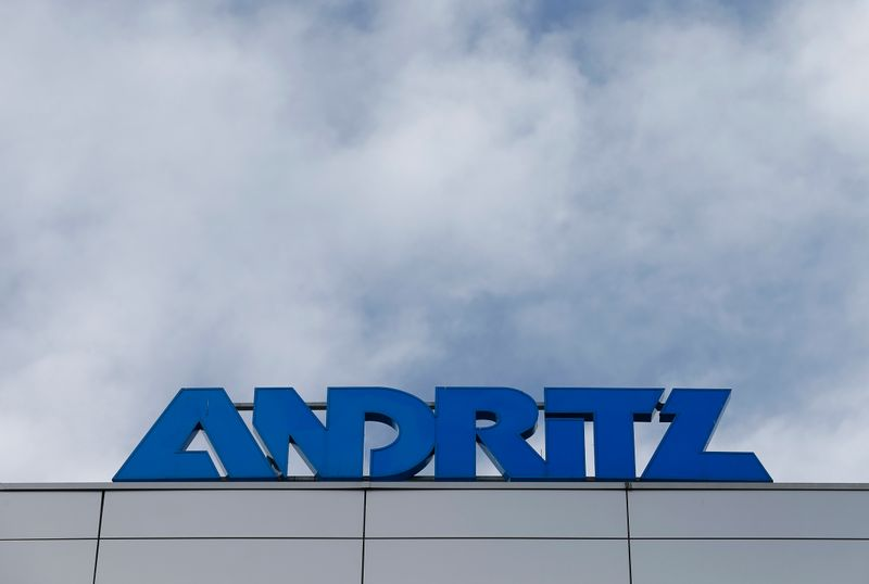 The logo of Austrian machinery maker Andritz is pictured on the roof of its headquarters in Vienna