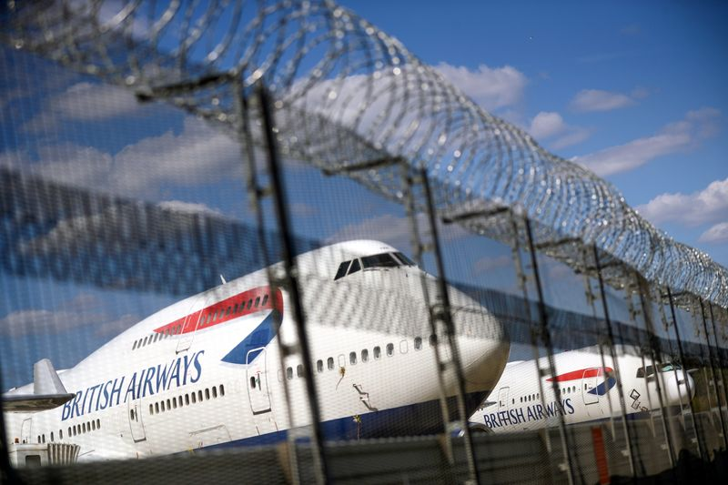 British Airways planes are seen at the Heathrow Airport in London