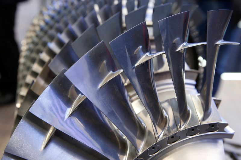 Blades of a MTU Aero Engines V 2500 HPC aircraft engine are pictured at the ILA Berlin Air Show in Schoenefeld