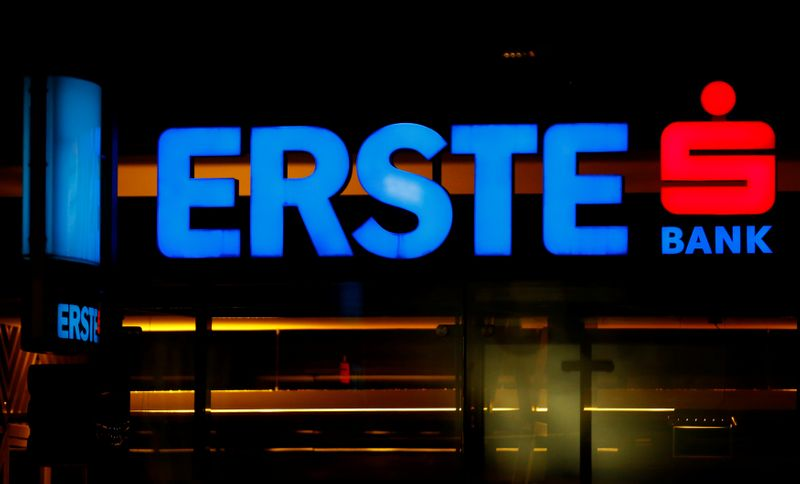 The logo of Erste Group Bank is seen outside of one of its branch offices in Vienna