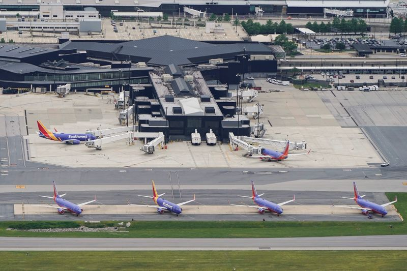 FILE PHOTO: Southwest Airlines jets are parked at Baltimore Washington International Airport in Baltimore, Maryland