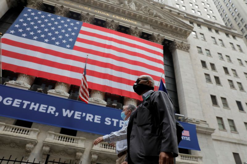 FILE PHOTO: New York Stock Exchange opens during COVID-19