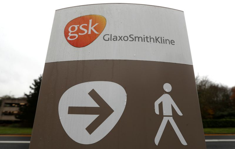 FILE PHOTO: A GSK logo is seen at the GSK research centre in Stevenage