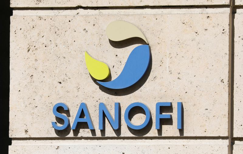 FILE PHOTO: Sanofi logo is seen in Paris