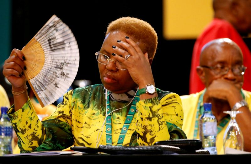 FILE PHOTO: ANC member Lindiwe Zulu reacts as she waits for the election results during the 54th National Conference of the ruling African National Congress (ANC) at the Nasrec Expo Centre in Johannesburg