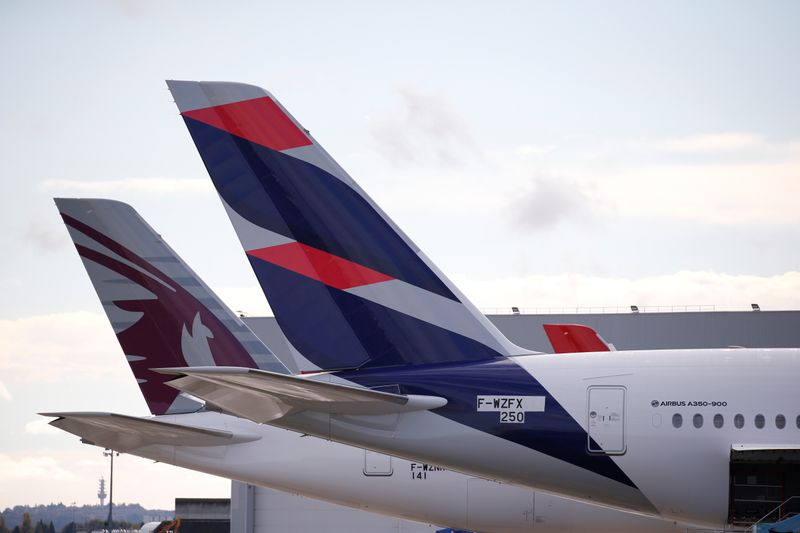 The logo of LATAM Airlines is pictured on an Airbus plane in Colomiers near Toulouse