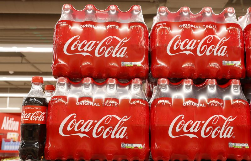 Bottles of Coca-Cola are displayed at a supermarket of Swiss retailer Denne in Glattbrugg
