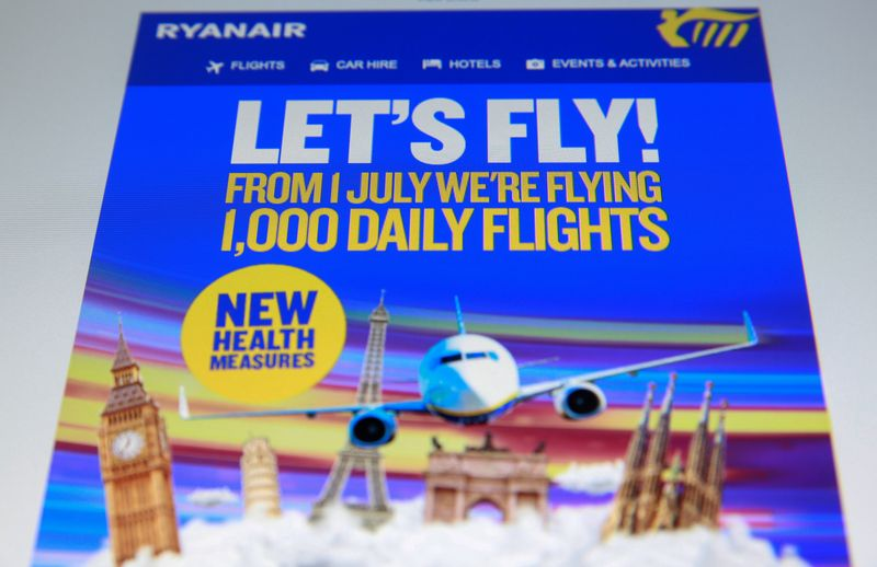 FILE PHOTO: An online advertisement for Ryanair, Europe's largest low-cost airline, states they are flying 1,000 daily flights from July 1 with new health measures, seen on a screen in London