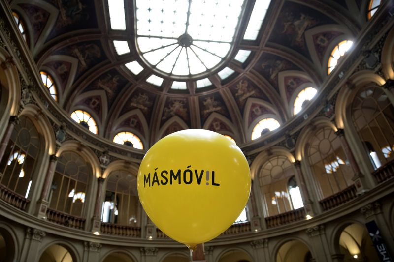 A balloon with the logo of  Masmovil is seen during its bourse debut in Madrid