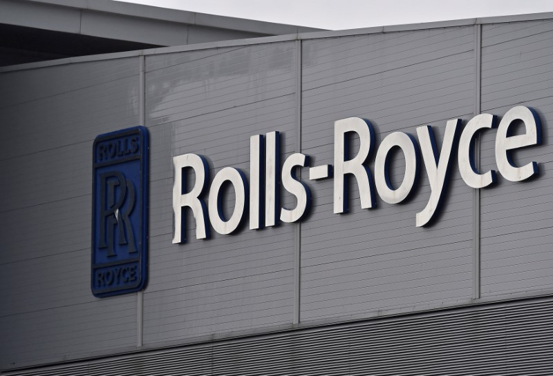 A Rolls-Royce logo is seen at the company's aerospace engineering and development site in Bristol