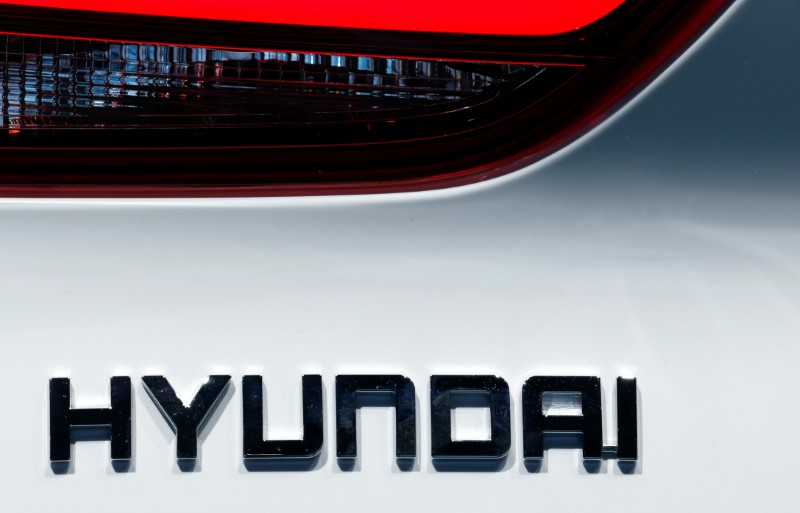 FILE PHOTO: The Hyundai logo is seen at the Paris auto show