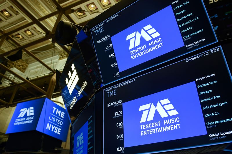 Tencent Music Entertainment celebrates the company's IPO on the floor of the NYSE in New York
