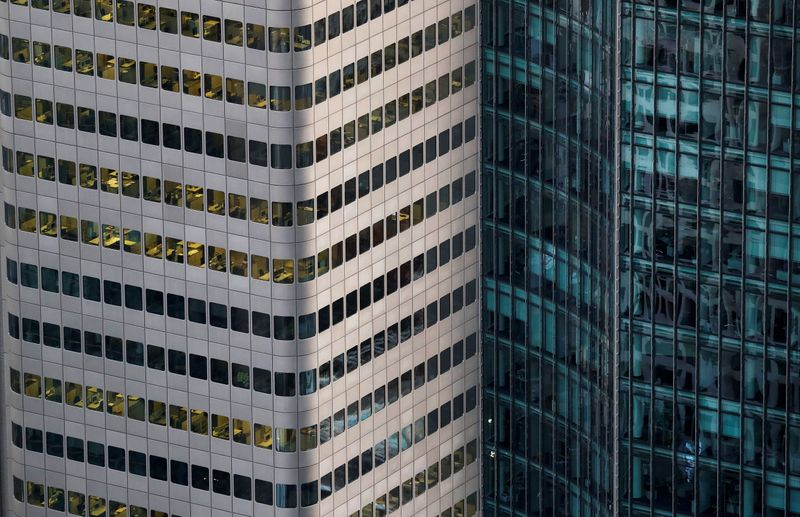 An office building in the financial district is photographed from