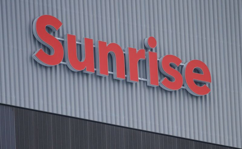Swiss telecoms company Sunrise's logo is seen in Opfikon
