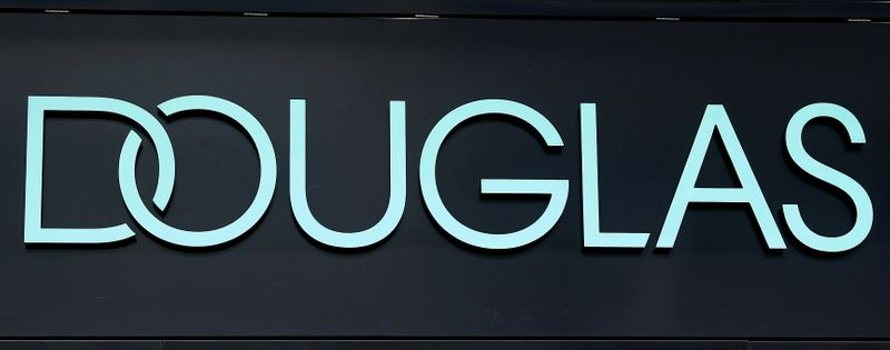 The new logo of cosmetic retailer Douglas is photographed in Frankfurt