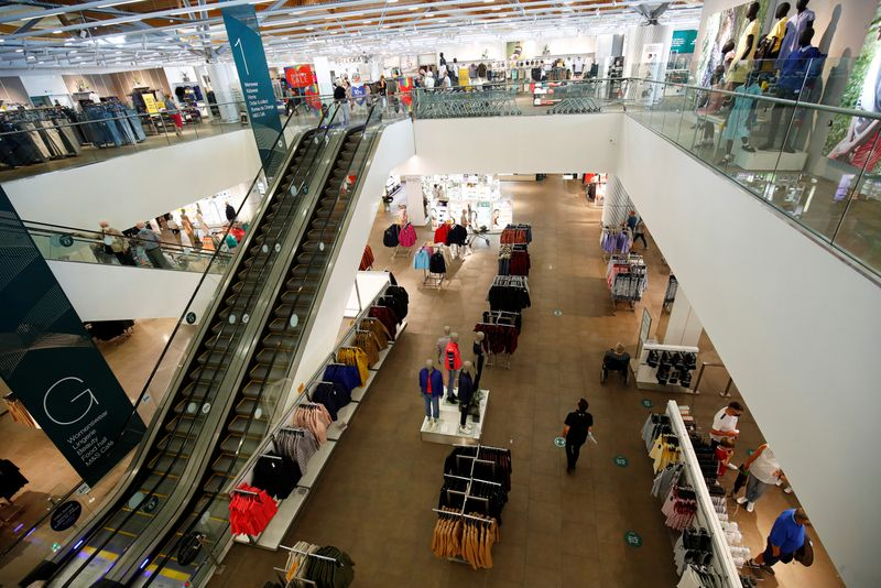 A Marks and Spencer (M&S) interior store is pictured in Cheshire