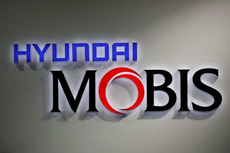 The logo of Hyundai Mobis is seen during the 2019 Seoul Motor Show in Goyang