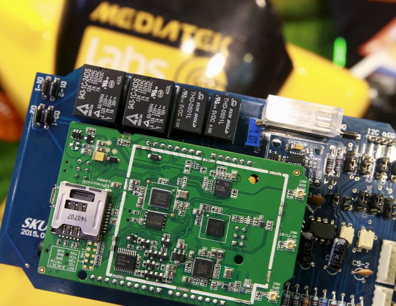 MediaTek chips are seen on a development board at the MediaTek booth during the 2015 Computex exhibition in Taipei, Taiwan