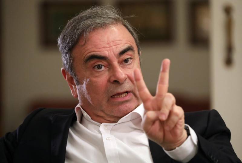Former Nissan chairman Carlos Ghosn talks during an exclusive interview with Reuters in Beirut