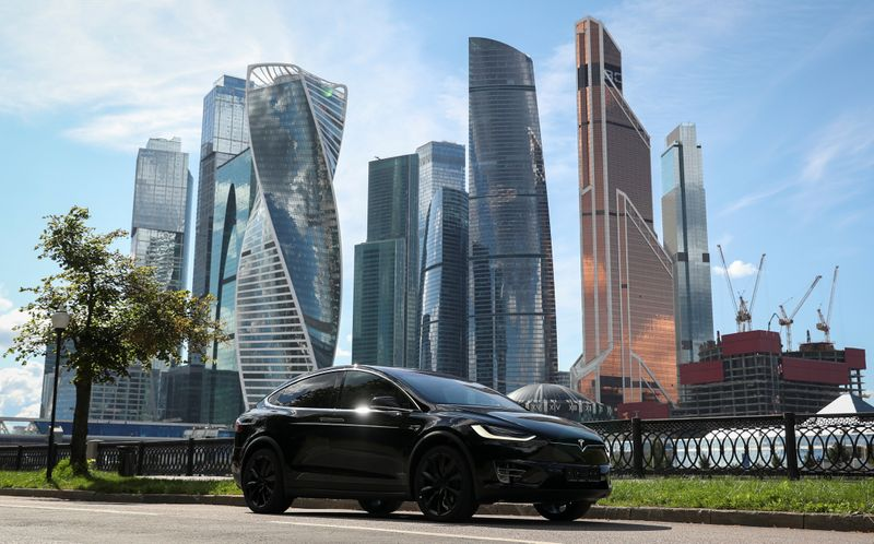 A Tesla Model X electric vehicle is shown in Moscow