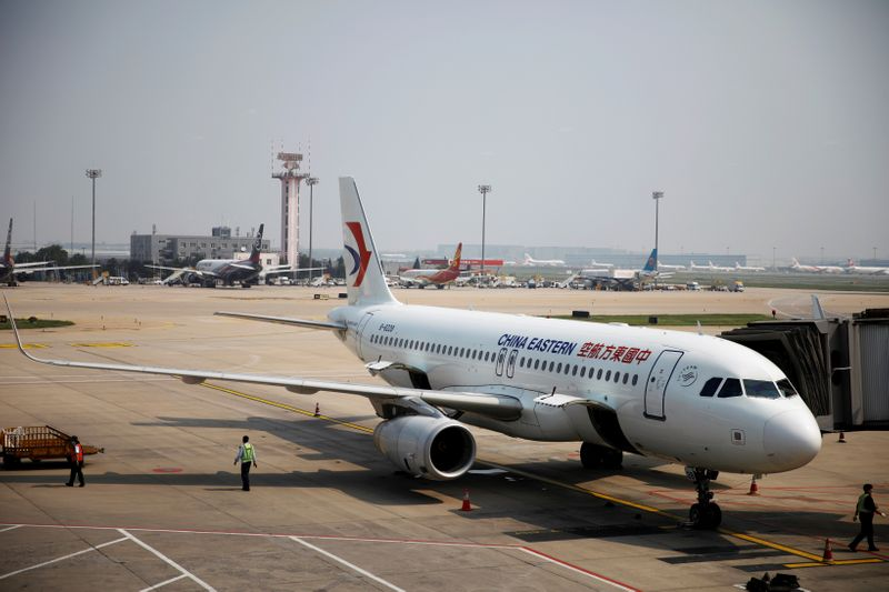 China Eastern Airlines aircraft is seen at the Beijing Capital International Airport