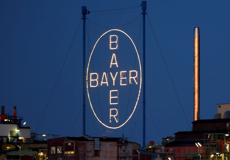 A logo of Bayer AG is pictured at the so called 'Chempark'