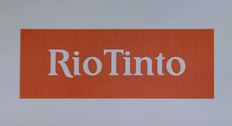 The Rio Tinto mining company's logo is photographed at their annual general meeting in Sydney