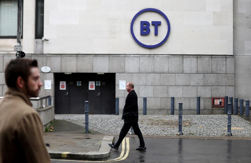 FILE PHOTO: People walk past British Telecom headquarters in London