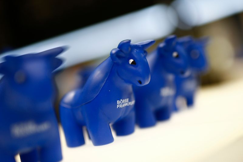Plastic bull figurines, symbols of the Frankfurt stock exchange are pictured at the Frankfurt stock exchange