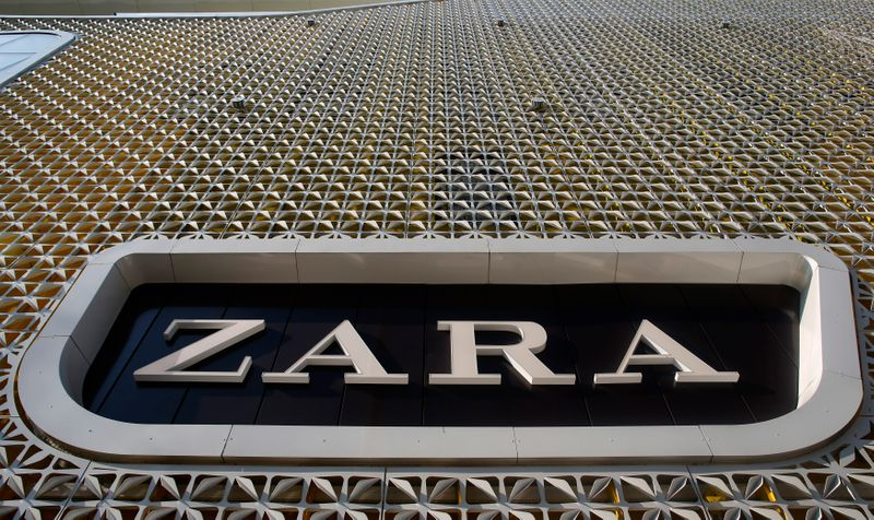 A Zara logo can be seen at the entrance of a Zara store, an Inditex brand, in Vienna