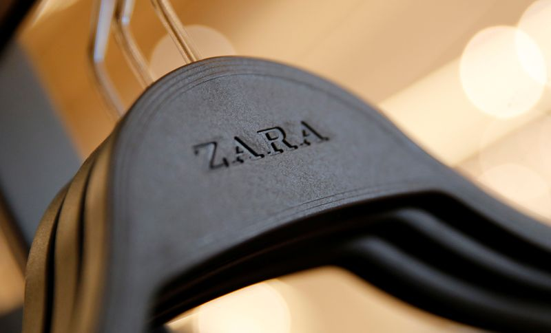 Zara's logo is seen on a clothes hanger in a Zara store, an Inditex brand, in central Barcelona