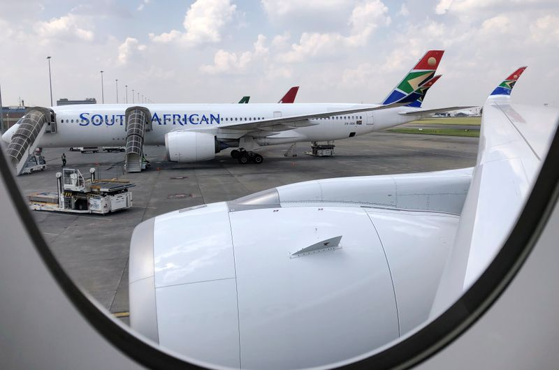 A South African Airways aircraft is seen at O.R. Tambo International Airport in Johannesburg
