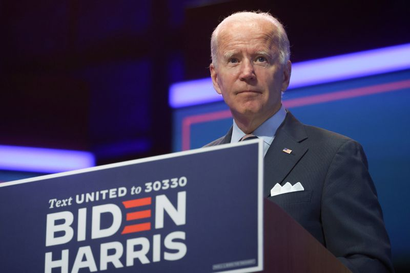FILE PHOTO: Democratic U.S. presidential nominee Biden speaks about developing and distributing a safe coronavirus vaccine during campaign event in Wilmington, Delaware