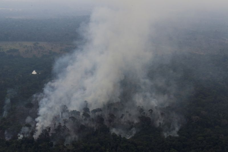 FILE PHOTO: Smoke billows from a fire in an area of the Amazon jungle as it is cleared by loggers and farmers near Porto Velho, Rondonia State