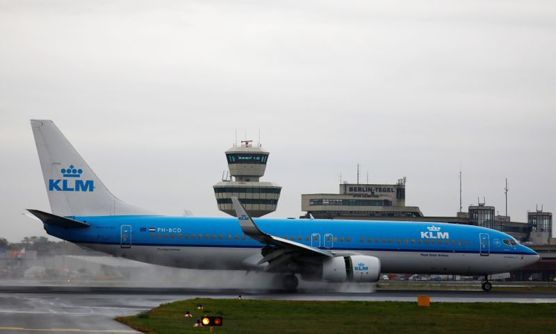 A KLM Boeing B737 plane lands at Tegel airport in Berlin