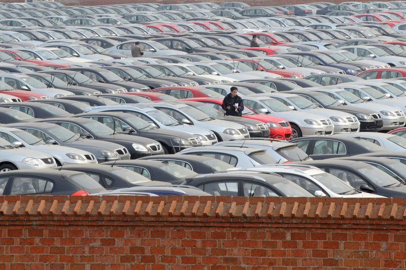 FILE PHOTO: A view shows a parking lot of Chinese carmaker Brilliance Automotive in Shenyang