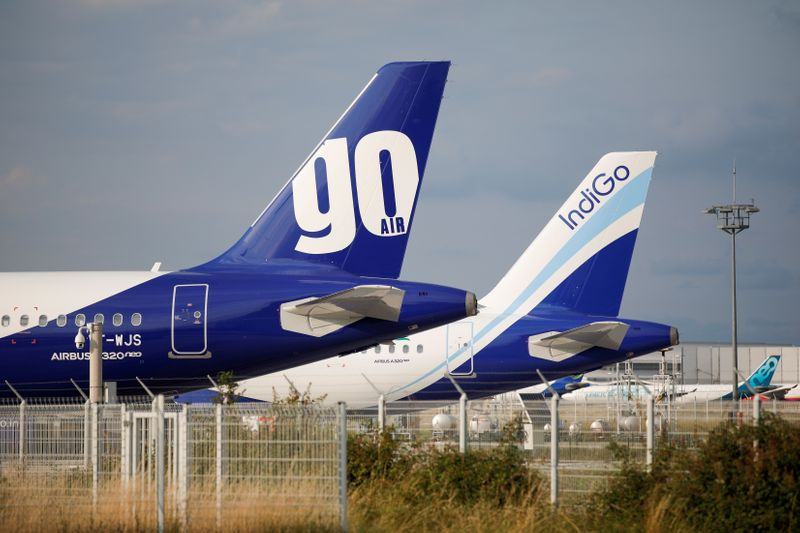 FILE PHOTO: A GoAir Airbus A320neo passenger aircraft is parked at the Airbus factory in Blagnac near Toulouse