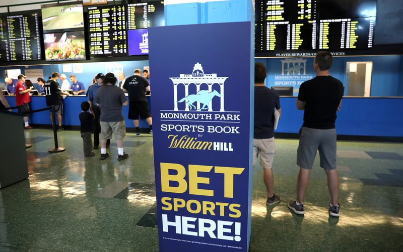 FILE PHOTO: Gamblers place bets on sports at Monmouth Park Sports Book by William Hill, shortly after the opening of the first day of legal betting on sports in Oceanport