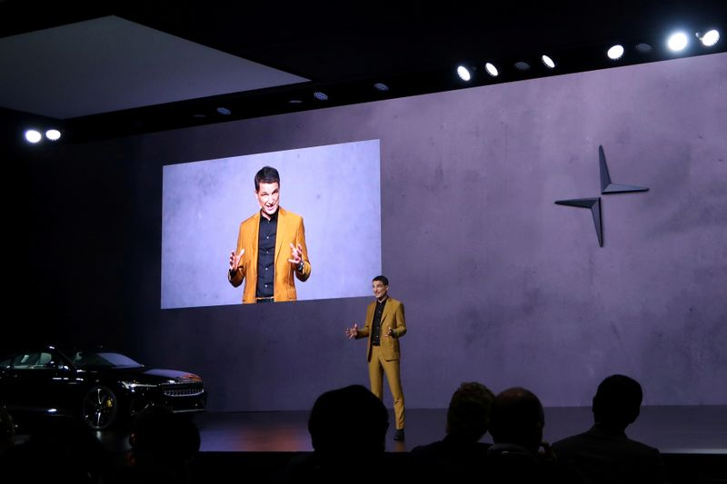 FILE PHOTO: Thomas Ingenlath, Chief Executive Officer of Polestar speaks during a launch event in Shanghai