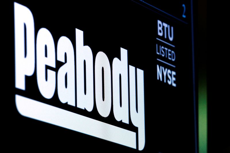 The logo and trading symbol for U.S. coal miner Peabody Energy Corp. are displayed on a screen on the floor of the NYSE in New York