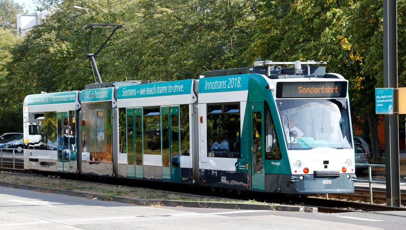 The world's first autonomous tram Combino is presented by Siemens Mobility during a media presentation in Potsdam